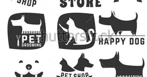 set of pet shop labels and badges cat food dog food pet
