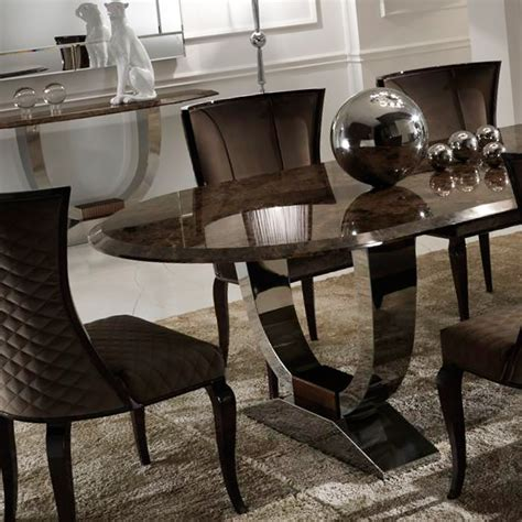 Luxury Dining Tables Uk Luxury Italian Brown Marble Oval Dining Set Juliettes