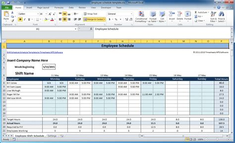 Excel Scheduling Template by Free Employee And Shift Schedule Templates