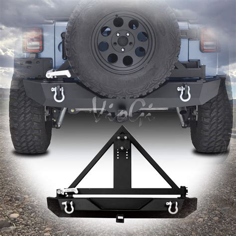 hitch mounted spare tire carrier swing away textured black rear bumper rock crawler tire carrier w 2