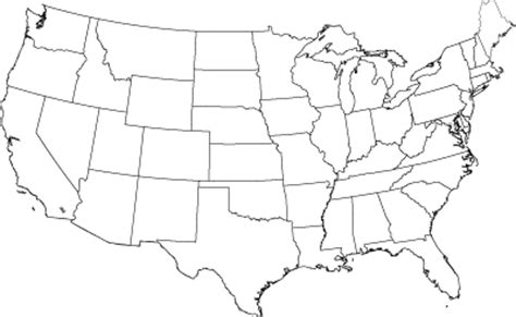 united states map  color  label