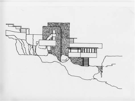 Water View House Plans by Falling Water Circulation Falling Water Elevation Water
