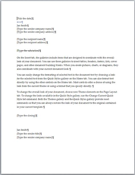 letter layout word 2007 formal business letter template word