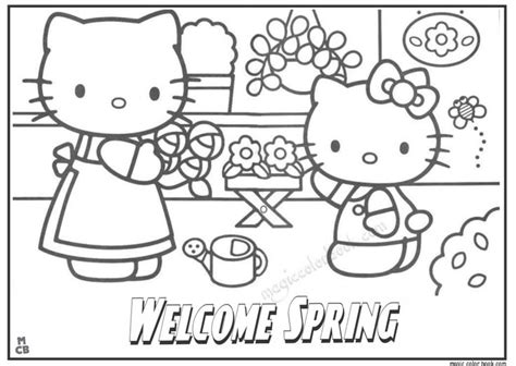 hello kitty coloring pages spring 28 best spring coloring pages free online images on