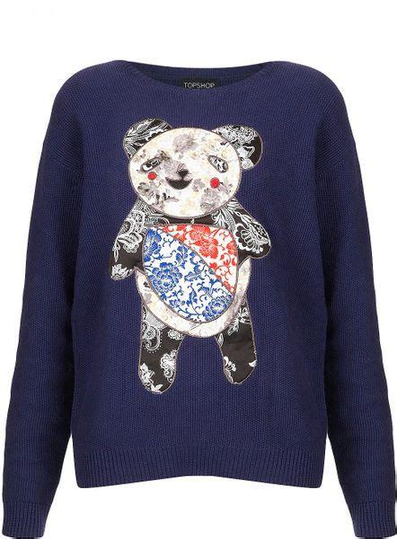 knitting pattern panda jumper topshop knitted applique panda jumper in blue navy blue