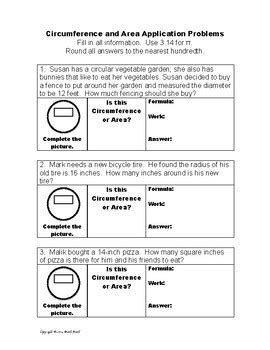 Area And Circumference Of A Circle Word Problems Worksheet circumference and area of circles application word