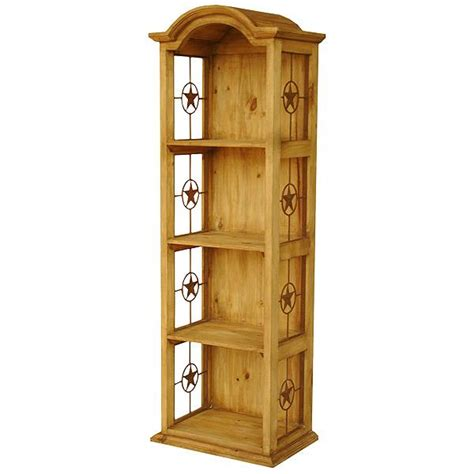 Rustic Pine Bookcase Rustic Pine Collection Narrow Bonnet Bookcase W Stars