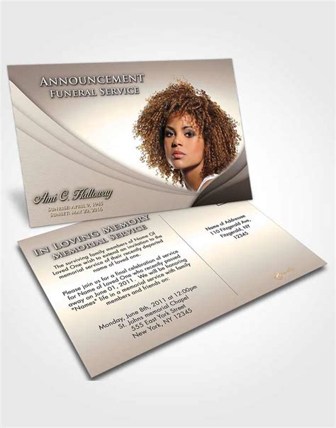funeral announcement post card template obituary template trifold brochure tranquil fall