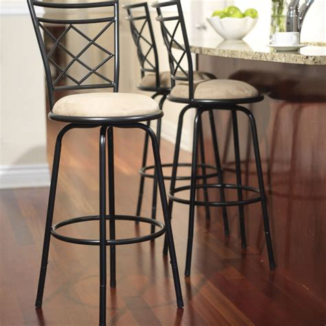 Kitchen Counter Height Bar Stools | swivel metal stools 3 set adjustable bar height black