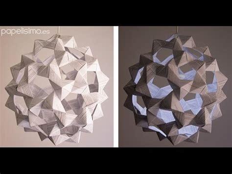 como hacer farolas en origami l 225 mpara de papel origami icosaedro truncado youtube