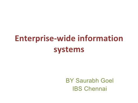 Mba Information Security Management In Madras by Enterprise Systems