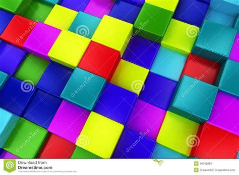 3d color 3d colored cubes background color mosaic stock