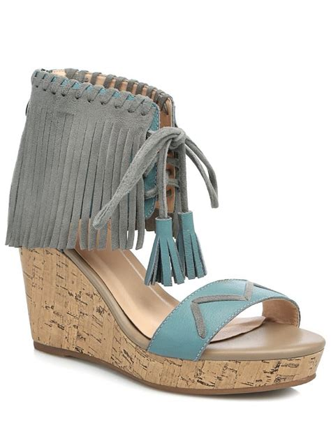 Wedge Heel Lace Up Boots Blue fringe lace up wedge heel sandals blue sandals 39 zaful