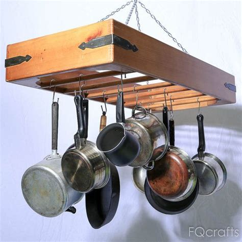 large wooden hanging pot rack store pots pans and