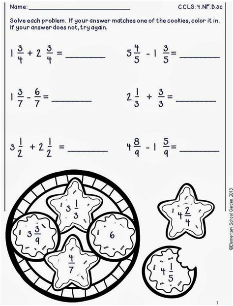 free adding subtracting fractions worksheets in the