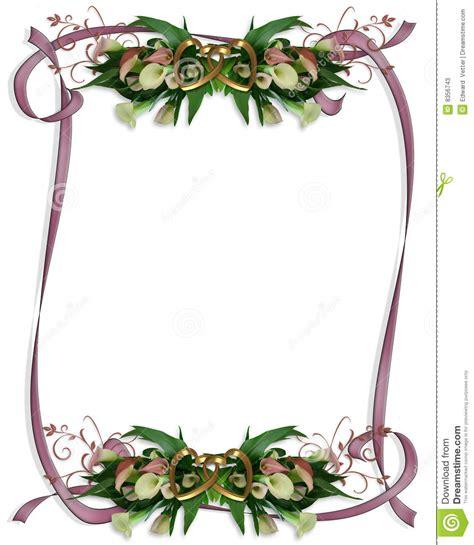 hochzeitseinladung calla calla lilien rand hochzeitseinladung stockfotos bild
