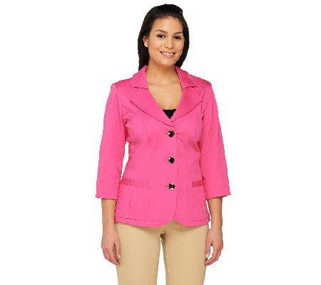 Novelty M A K denim co 3 4 sleeve stretch twill jacket with novelty