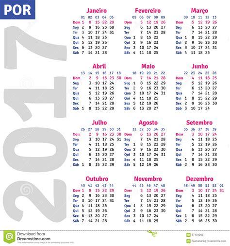 Calendã 2017 Feriados Portugal Portuguese Calendar 2017 Stock Vector Image