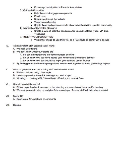 October Parent S Association Meeting Agenda Harry S Truman High School Parent Meeting Agenda Template