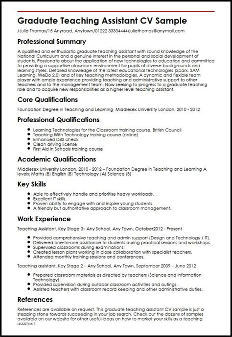 Graduate Teaching Assistant Cover Letter Uk Graduate Teaching Assistant Cv Sle Myperfectcv