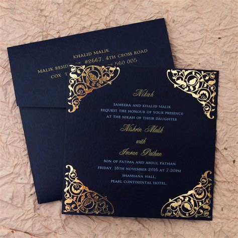 muslim wedding cards design india gulshan blue wedding islamic cards add a touch of elegance to your nikah with this handcrafted