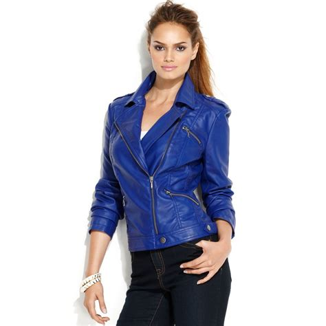 blue motorbike jacket inc international concepts faux leather classic motorcycle