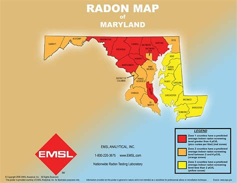 maryland map testing radon map