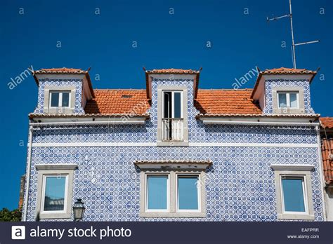 buy house lisbon azulejos blue tiles on a house facade cascais lisbon portugal stock photo royalty