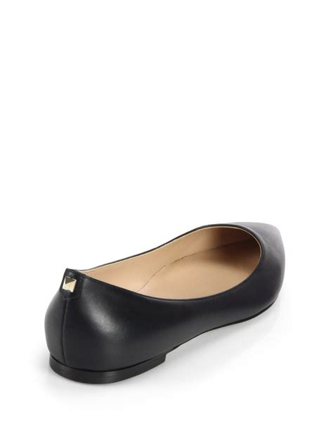 valentino leather ballet flats in black lyst