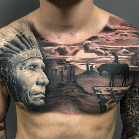 tattoo chest indian native american chest piece award winning surrealistic