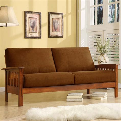 rust couch homelegance mission sofa