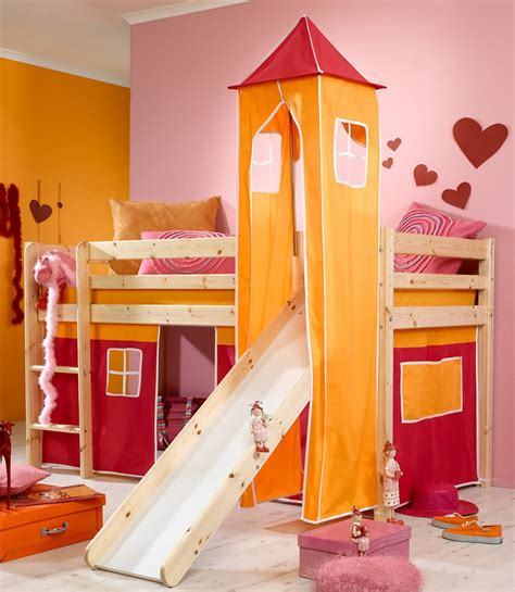 kids bunk beds with slide minnie natural midsleeper bed with pink tent orange tower