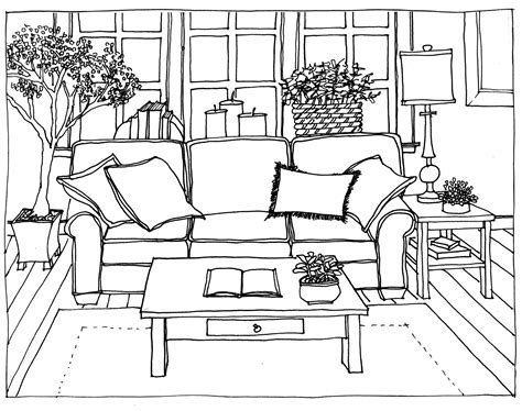 Drawing Living Room - drawing living room perspective at for personal use fresh