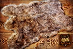 fur accents light wolf coyote pelt accent rug by