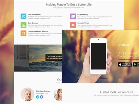 Psd Landing Page For Apps Freebiesbug Iphone App Landing Page Template