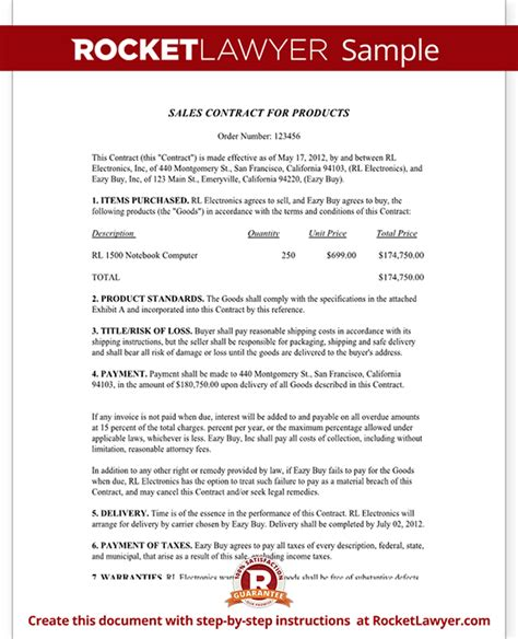 Sales Contract Template Free Sales Contract Form With Sle Contract For Sale Of Goods Template Free