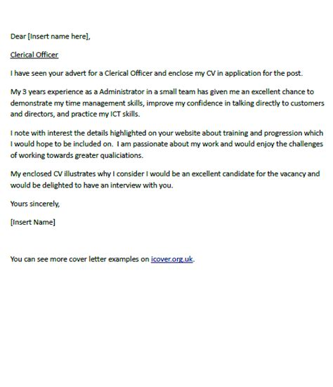 Cover Letter For A Clerical Officer Icover Org Uk Clerical Cover Letter Template