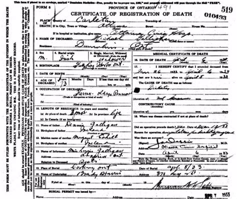 Ontario Deaths Records Did An Operation Precede Ontario Civil Records Ottawa Valley