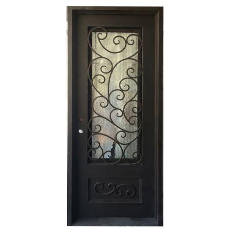 Wrought Iron And Glass Doors Grafton Exterior Wrought Iron Glass Doors Fern Collection Black Right Inswing 98 Quot X40 Quot Flat Top