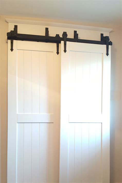 Outside Mount Sliding Closet Doors Bypass Barn Door Hardware Easy To Install Canada Hanging Barn Door Pinterest Bypass Barn