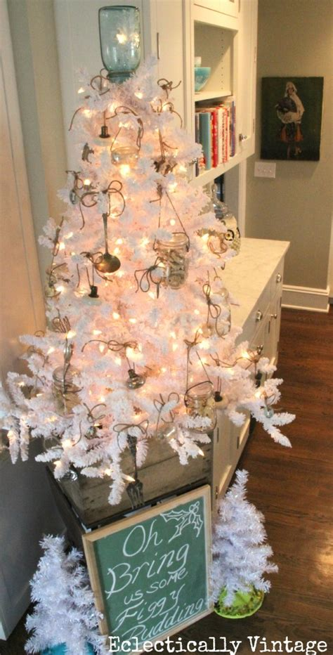 kitchen christmas tree ideas decorating with a white christmas tree eclectically