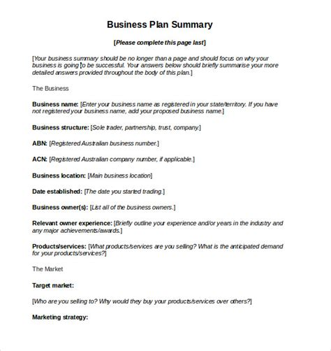small business plan template australia sle business plan 11 exle format