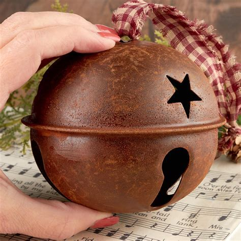 "4"" Primitive Rusty Tin Jingle Bell Ornament   Christmas"