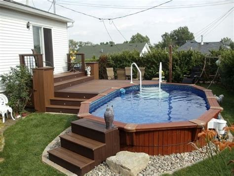 above ground backyard pools wooden above ground pools with excellent deckr for superb