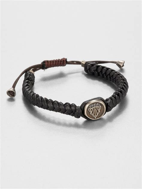 Gucci Woven Leather Bracelet in Brown for Men   Lyst