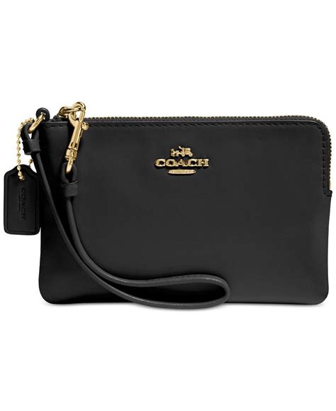 Clucth Coach coach boxed corner zip wristlet in smooth leather coach anything smooth