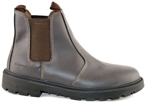 mens leather safety steel chelsea dealer slip on ankle