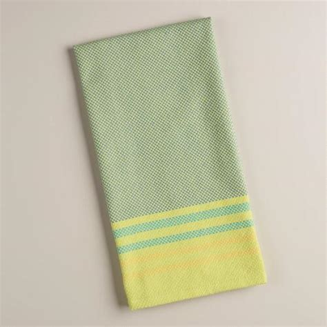 Green Kitchen Towel Set by Aqua And Green Stripe Textured Kitchen Towels Set Of 2