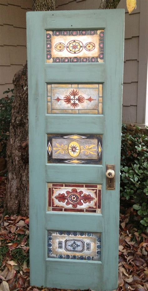 antique hand painted ls wood door hand painted antique vintage wall decor or