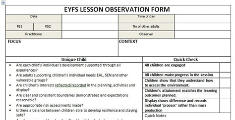 lesson plan template eyfs eyfs lesson session observation proforma abc does